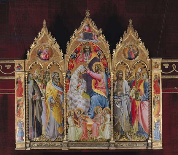 Triptych of the Coronation of the Virgin (oil on panel)