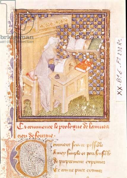 Ms 493/1668 f.232r Christine de Pisan (1365-1430) Writing at her Desk, from the prologue of 'Le Livre de la Mutation de Fortune' (vellum)