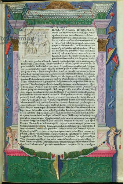 Frontispiece to 'Historia Naturalis' by Pliny (23-79 AD) printed by Jensen, Venice, 1472 (vellum)