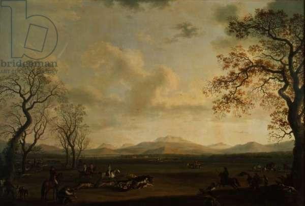 Ferdinand I (1751-1825) Hunting Boar at Carditello (oil on canvas)