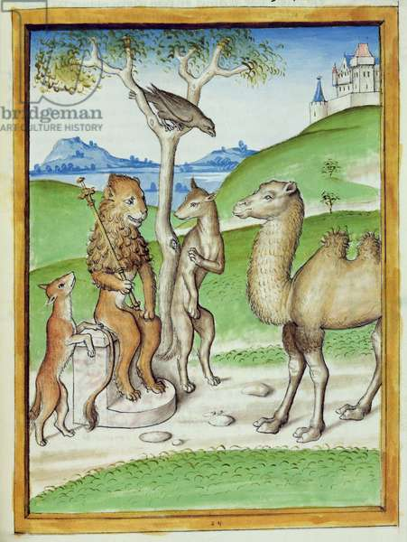 Ms 680/1389 f.24 The Lion, the King of the Animals, from 'The Fables of Bidpai', c.1480 (vellum)