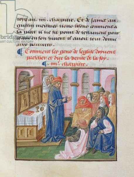 Ms 297/1338 fol.22 Predication, from 'Le Livre des Bonnes Moeurs' by Jacques le Grant (vellum)