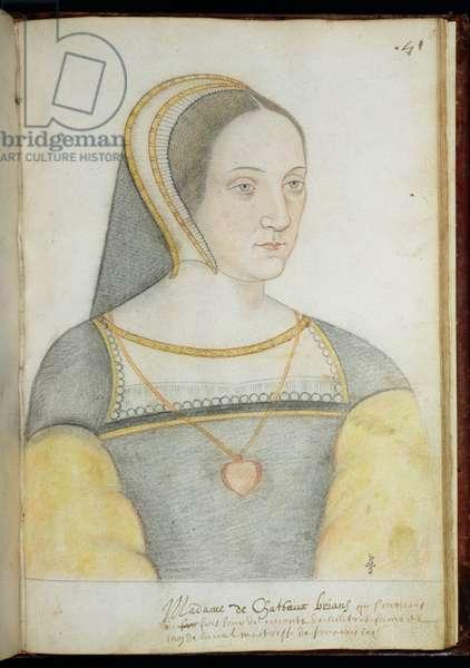 Francoise de Foix (1495-1537) Countess of Chateaubriant (pencil on paper)