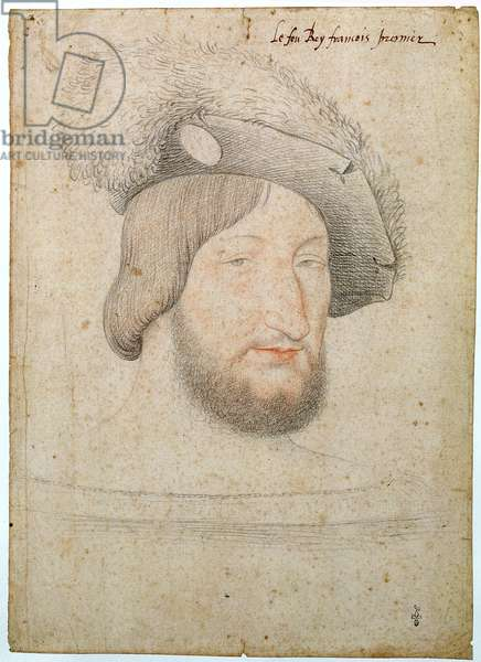 Portrait of Francois I (1494-1547) before 1525 (pencil on paper)