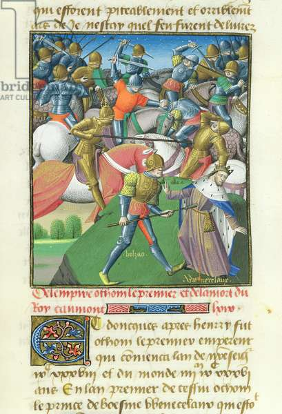 Ms 722/1196 fol.129r The Empire of Otto I (912-73) from Le Miroir Historial, by Vincent de Beauvais (vellum)