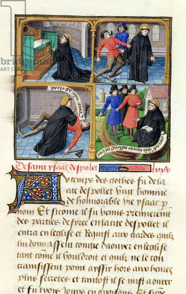 Ms 722/1196 fol.29r Scenes from the Life of St. Isaac of Monteluco (d.c.550) from Le Miroir Historial, by Vincent de Beauvais (vellum)