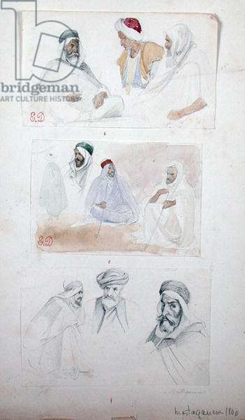 Sketches of Algerian Men at Mostaganem, from 'Vues et Portrait Faits Pendant la Campagne de Mai 1840', 1840 (pencil & w/c on paper)
