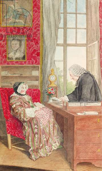 Mrs Doublet and the Abbot Legendre (pencil, w/c & gouache on paper)