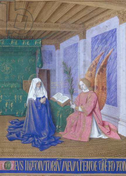 Ms Fr 71 fol.10 The Annunciation of the Virgin's Death, from the 'Heures d'Etienne Chevalier', c.1445 (vellum)