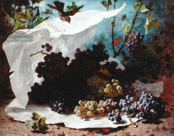 Still Life with Grapes (oil on canvas)