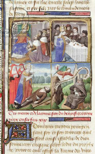 Ms 722/1196 fol.10v Scenes from the Life of St. Gregory the Great (540-604) from Le Miroir Historial, by Vincent de Beauvais (vellum)