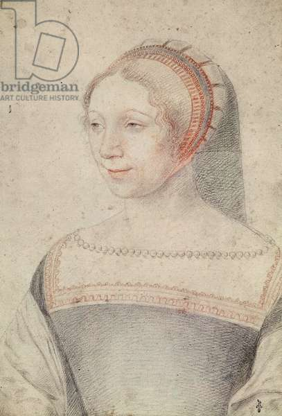 Unknown portrait of a young Lady, probely Diane, bastard of France, duchesse de Montmorency, then of Angouleme and Chatellerault, c.1540 (pencil on paper)