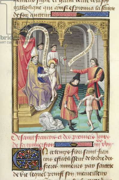 Ms 722/1196 fol.373r St. Francis divested of his clothes to the anger of his father, puts himself under the protection of the bishop, from Le Miroir Historial, by Vincent de Beauvais (vellum)