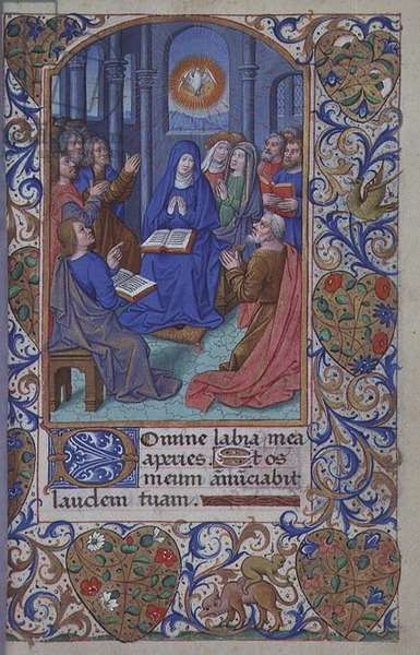 Ms 81/1057 fol.93r Pentecost, from the 'Heures de Nicolas Le Camus' (vellum)