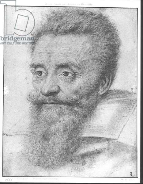 Armand de Gontaut (1524-92) Baron of Biron (black chalk on paper) (b/w photo)
