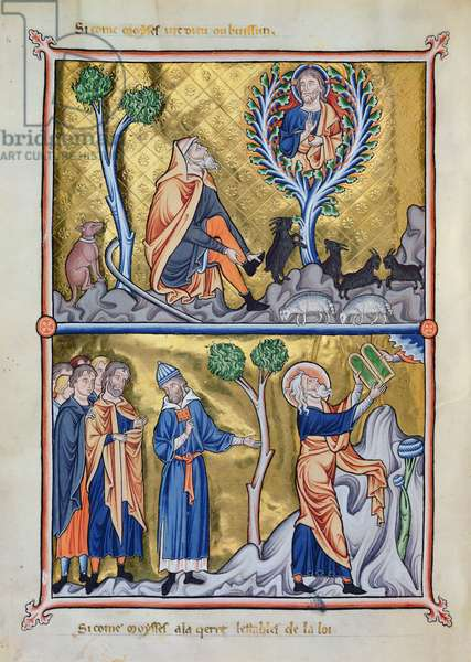 Ms 9/1695 f.12v Moses and the burning bush and the Tables of Law, from the 'Psautier d'Ingeburg de Danemark', c.1210 (vellum)