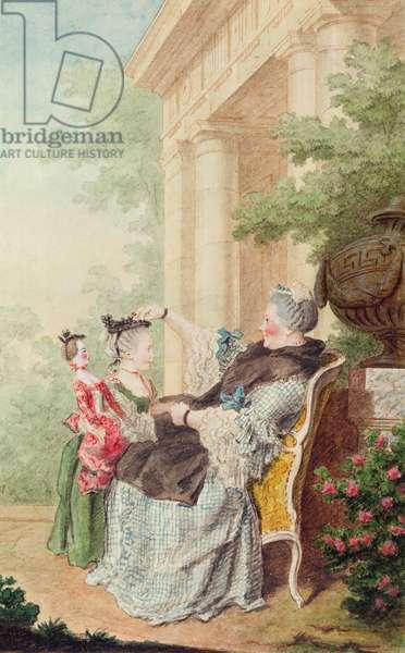 Madame d'Orval et Mademoiselle de Wargemont (pencil, watercolour and gouache on paper) 1760