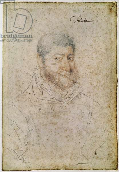 Ferait, known as Triboulet, fool of Louis XII (1462-1515) and Francois I (1494-1547) c.1550 (pencil & red chalk on paper)