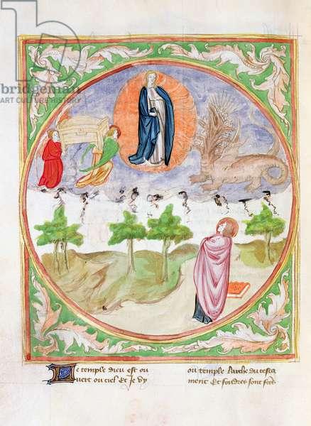 Ms. 28/1378 fol.71v The Woman and the Seven Headed Dragon, from 'Histoire Extraite de la Bible et Apocalypse' (vellum)