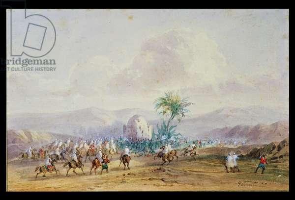 Battle of Sidi Brahim in 1845 (w/c on paper)
