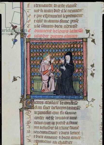 Ms 482/665 f.60v Heloise and Abelard, from Le Roman de la Rose, le testament, by Jean de Meung, c.1370 (vellum)