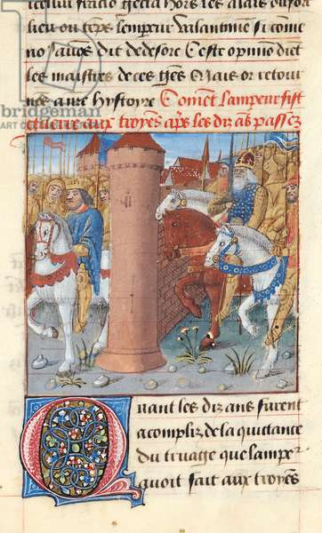 Ms 869/522 fol.2r Charlemagne (742-814) Waging War on the Trojans, 1217-37 (vellum)