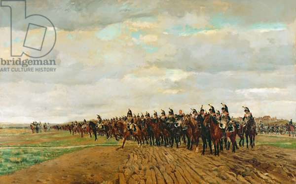 The Cuirassiers before their Charge at the Battle of Austerlitz in 1805, 1878 (oil on canvas) (for detail see 83501)