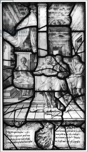 The Dinner and Concert of Psyche, from the Galerie de Psyche, Chateau d'Ecouen, 1542-44 (stained glass) (b/w photo)