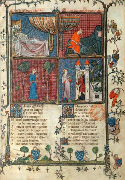Ms 482/665 f.1 The Lover Sleeping, Dressing, Sewing his Sleeve and Standing at the House of Love's Pleasure, by Jean de Meung (1240-1305) from Le Roman de la Rose, le testament, by Jean de Meung, c.1370 (vellum)