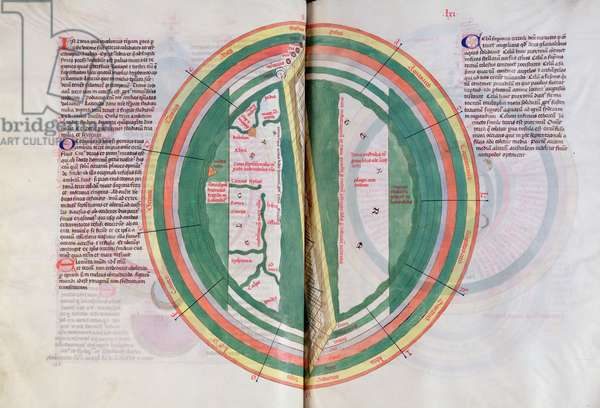 Ms 724/1596 fol.60v & 61r Geographical map depicting the zodiac and the oceans, from 'Liber Floridus' by Lambert de Saint-Omer, c.1448 (vellum)
