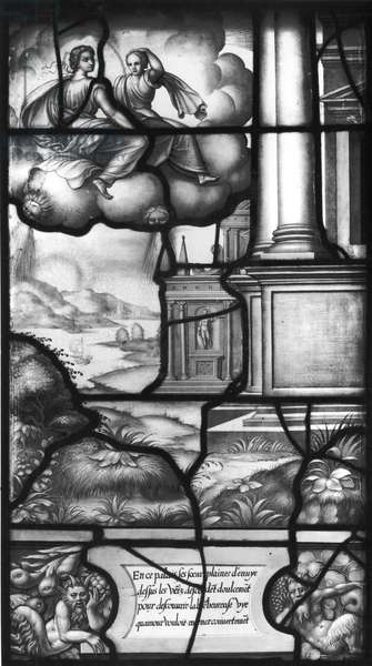 The Two Sisters of Psyche Flying over the Enchanted Palace, from the Galerie de Psyche, Chateau d'Ecouen, 1542-44 (stained glass) (b/w photo)