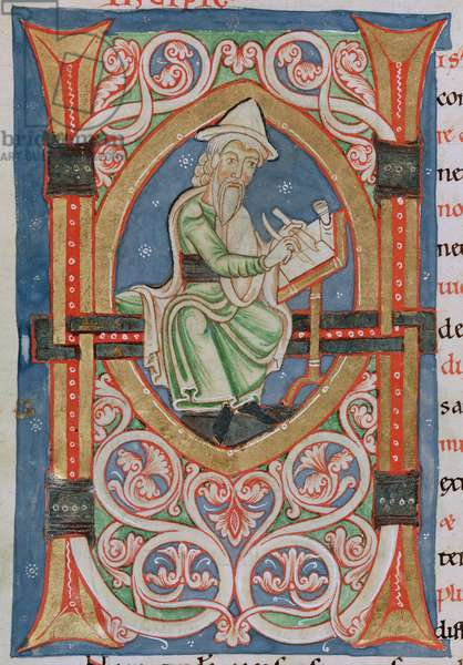 Ms 774 (4)/1632 f.1v Historiated letter 'H' depicting the author writing, from 'Antiquitates Judaicae' (vellum) (detail of 94972)