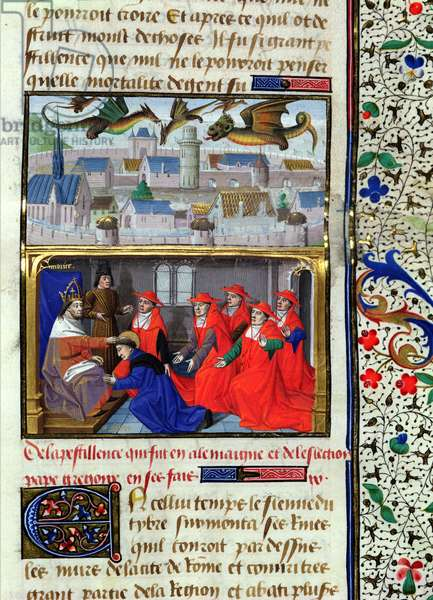 Ms 722/1196 fol.7r The Plague in Germany in the 6th century and the Election of Pope Gregory (540-604) from Le Miroir Historial, by Vincent de Beauvais (vellum)