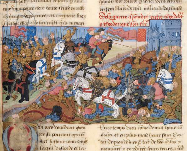 Ms 869/522 fol.86r War between Thierry II (587-613) King of Burgundy and his brother, Theodebert, in 612, 1217-37 (vellum)