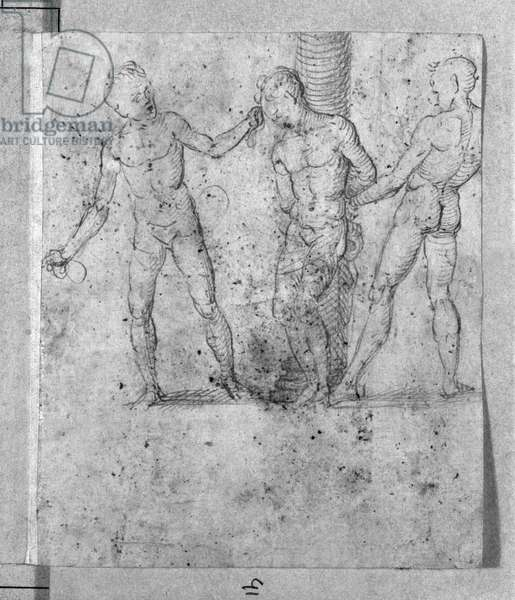 Group of three figures for the Flagellation of Christ (pen & brown ink & red chalk on paper) (b/w photo)