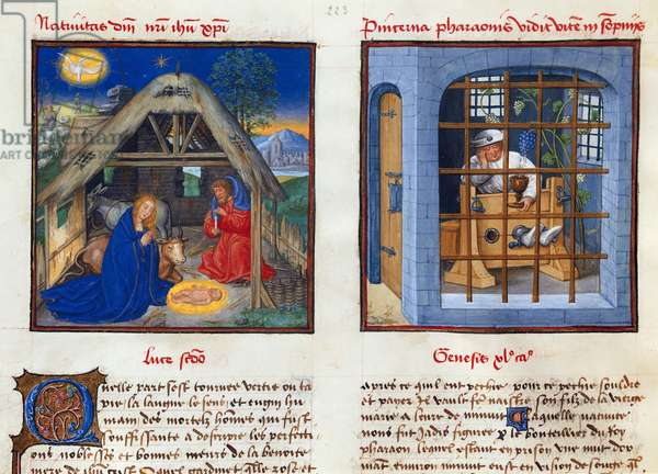 Ms 139/1363 fol.9v The Nativity and the Dream of Pharaoh's Cupbearer, from 'Le Miroir de l'Humaine Salvation' (vellum)