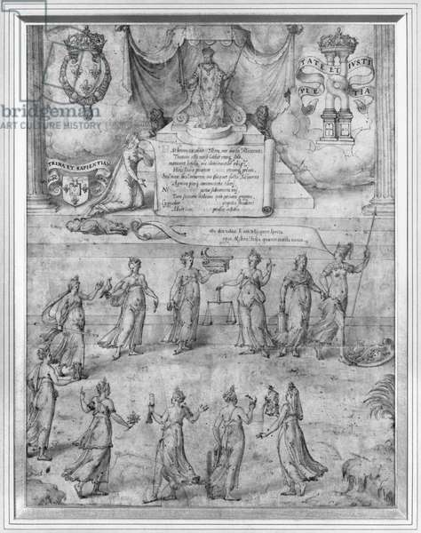 Charles IX (1550-74) enthroned with female allegories (pen & ink & bistre on paper) (b/w photo)