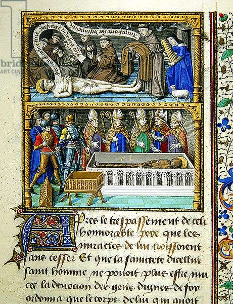Ms 722/1196 fol.427r, Death of St. Francis, from Le Miroir Historial, by Vincent de Beauvais (vellum)
