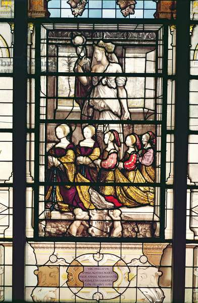 Portrait of the daughters of Anne de Montmorency (1493-1567) and Madeleine of Savoy (1510-86) from the Chapel, 1544 (stained glass)
