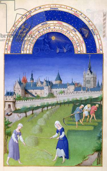 Ms 65/1284 f.6v June: haymaking, from the 'Tres Riches Heures du Duc de Berry' (vellum) (for fascimile copy see 65831)