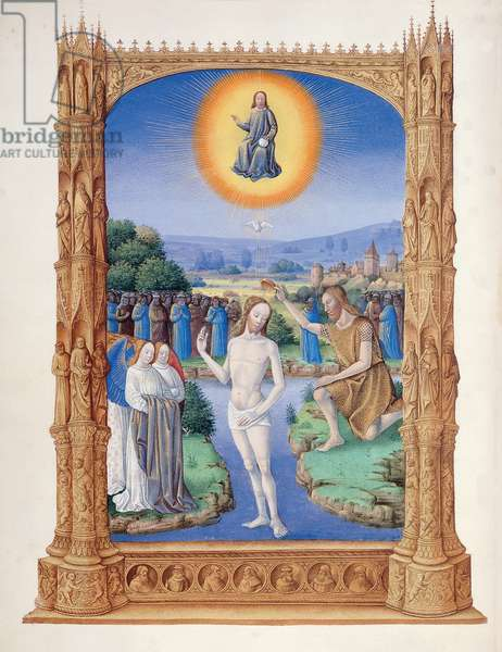Ms 65/1284 f.109v St. John the Baptist baptising Christ, from Tres Riches Heures du Duc de Berry, early 15th century (vellum)