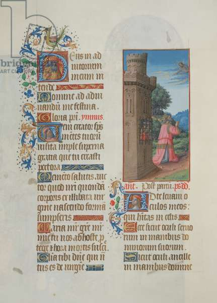 Ms. 65/1284 fol. 52v Psalm 69, David in prayer, from 'Très Riches Heures du Duc de Berry' (vellum)