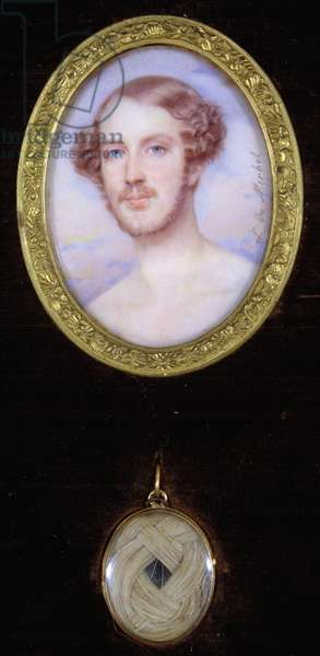 Portrait of Ferdinand, Duke of Orleans (1810-1842) and a locket containing a lock of his hair (watercolour on ivory)