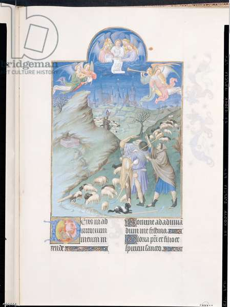 Ms 65/1284 f.48r The Annunciation to the Shepherds, illustration from 'Tres Riches Heures du Duc de Berry' (vellum)