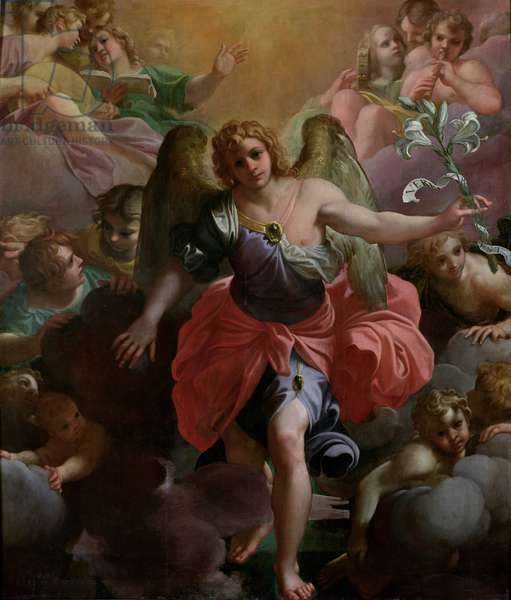 Angel Gabriel in Glory with Angel Musicians and Cherubs (oil on canvas)
