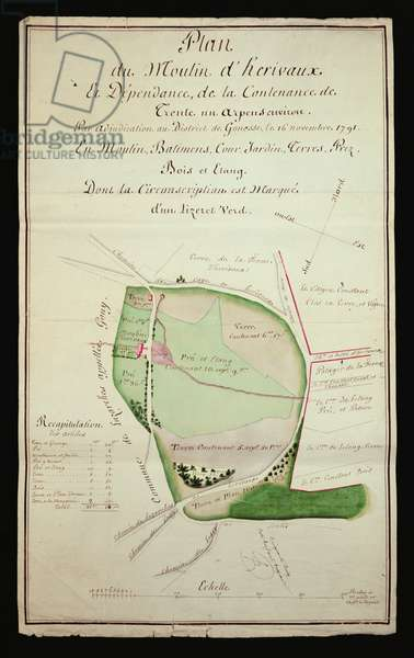 Plan of the Herivaux windmill and outbuilding, 1791 (w/c on paper)