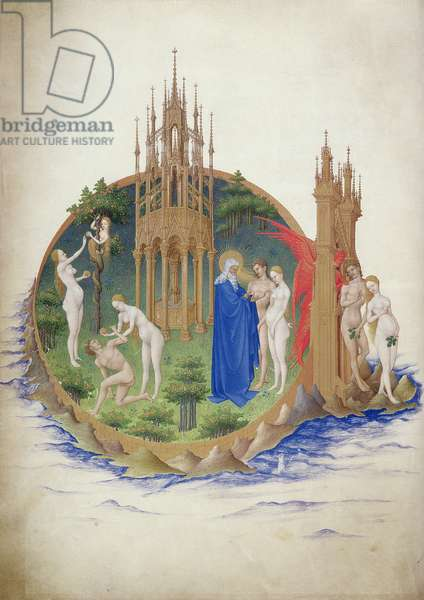 Ms 65/1284 f.25v Adam and Eve in the Garden of Eden, from the 'Tres Riches Heures du Duc de Berry' (vellum)