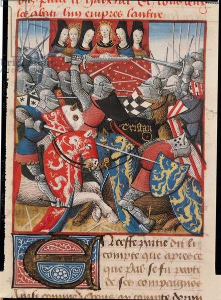 Ms 645-647/315-317 t.II f.59 A Tournament, from the Roman de Tristan (vellum)