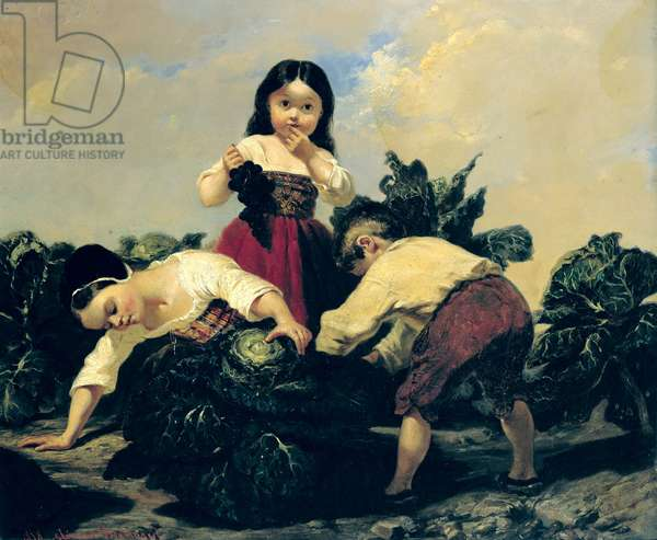 Children Looking Under a Cabbage, 1858 (oil on canvas)