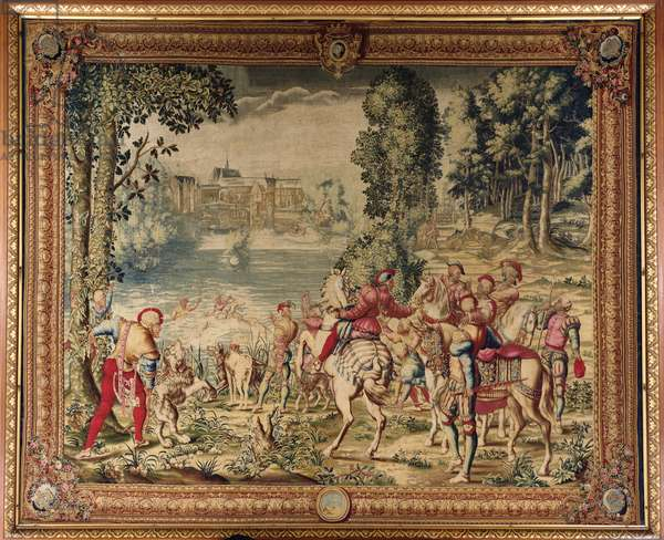 The Hunts of Maximilian, Libra; The Stag Hunt: Caught in the River, Gobelins Factory (tapestry) (see also 138999)